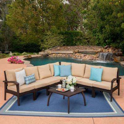 Honolulu Brown 8-Piece Wicker Patio Sectional Seating Set with Tan Cushions
