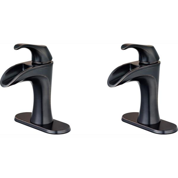 Brea 4 in. Centerset Single-Handle Bathroom Faucet in Tuscan Bronze (2-Pack Combo)