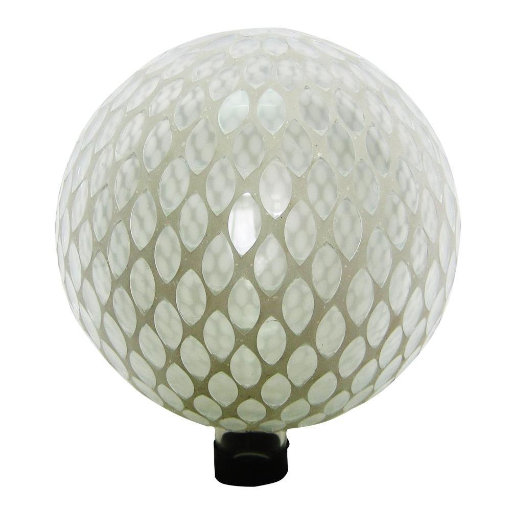 10 in. White Mosaic Gazing Globe