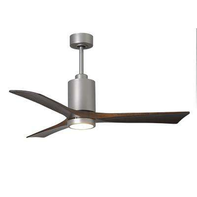 Patricia 52 in. LED Indoor/Outdoor Damp Brushed Nickel Ceiling Fan with Remote Control, Wall Control