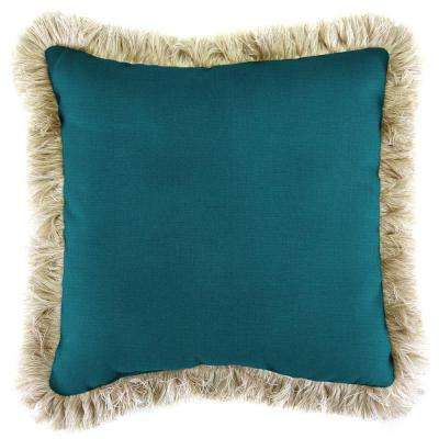 Sunbrella Spectrum Peacock Square Outdoor Throw Pillow with Canvas Fringe