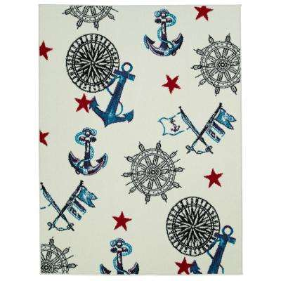 Multi-Color Kids and Children Bedroom and Playroom Nautical Sailor Design 5 ft. x 7 ft. Area Rug