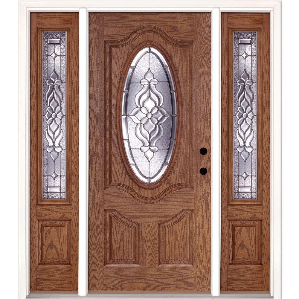 Feather River Doors 63.5 in. x 81.625 in. Lakewood Zinc 3/4 Oval Lite Stained Light Oak Left-Hand Fiberglass Prehung Front Door w/ Sidelites