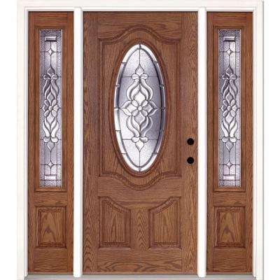 63.5 in. x 81.625 in. Lakewood Zinc 3/4 Oval Lite Stained Light Oak Left-Hand Fiberglass Prehung Front Door w/ Sidelites