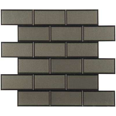 Crisson Bevel Subway Peel and Stick 12 in. X 12 in. X 4 mm Glass Mosaic Tile ( 19.6 sq. ft./case)