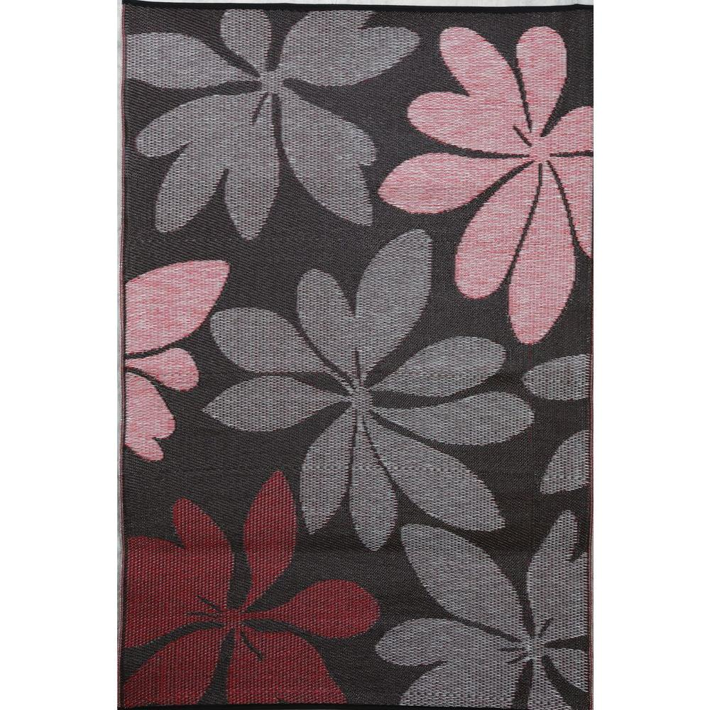 b.b.begonia Essence Red/Brown 4 ft. x 6 ft. Outdoor Reversible Area Rug