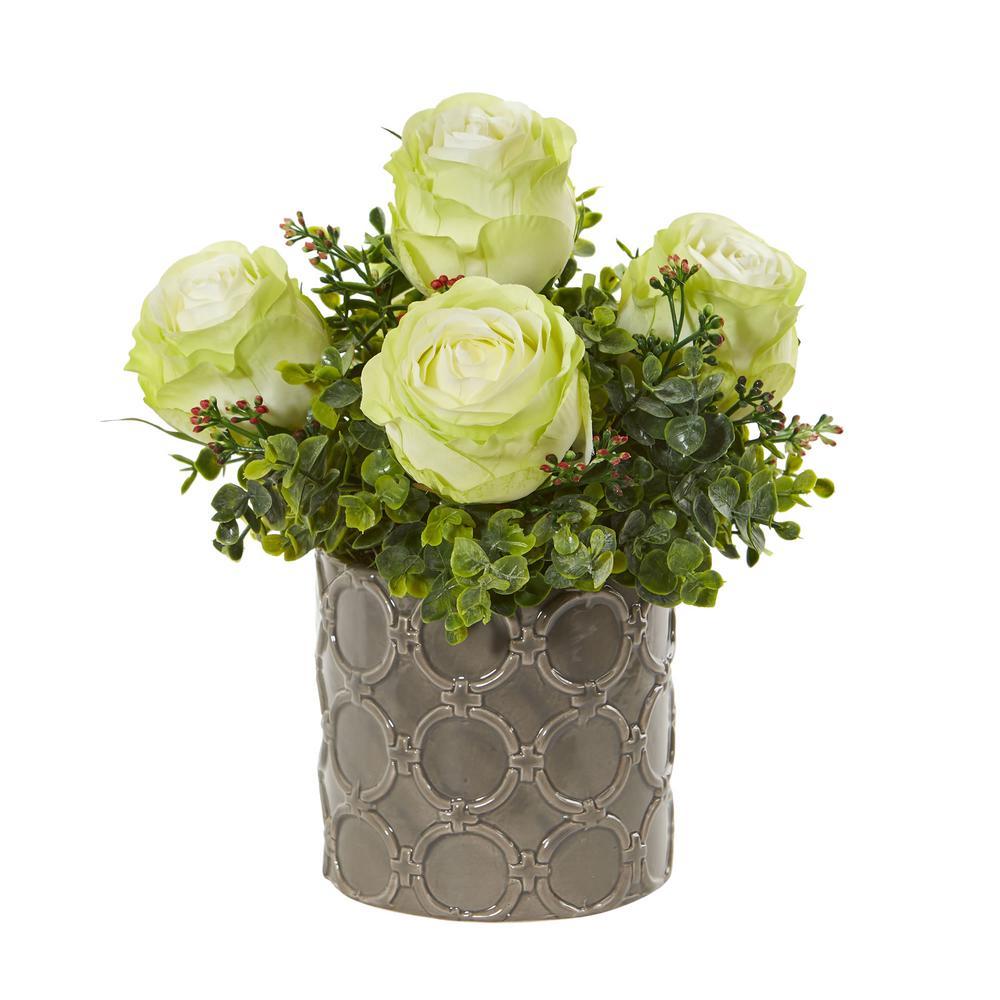 Nearly Natural Indoor 11 in. Roses and Eucalyptus Artificial Arrangement in Designer Vase