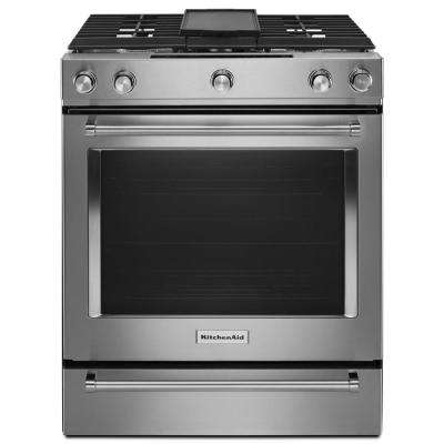 30 in. 7.1 cu. ft. Slide-In Dual Fuel Range with AquaLift Self-Cleaning True Convection Oven in Stainless Steel