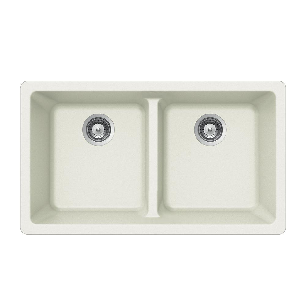 Houzer Quartztone Undermount Granite Composite 33 In Double Bowl Kitchen Sink Cloud