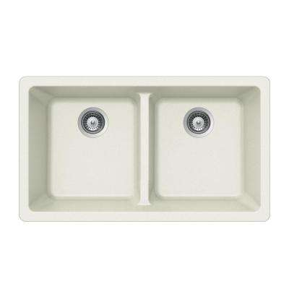 Quartztone Undermount Granite Composite 33 in. Double Bowl Kitchen Sink in Cloud