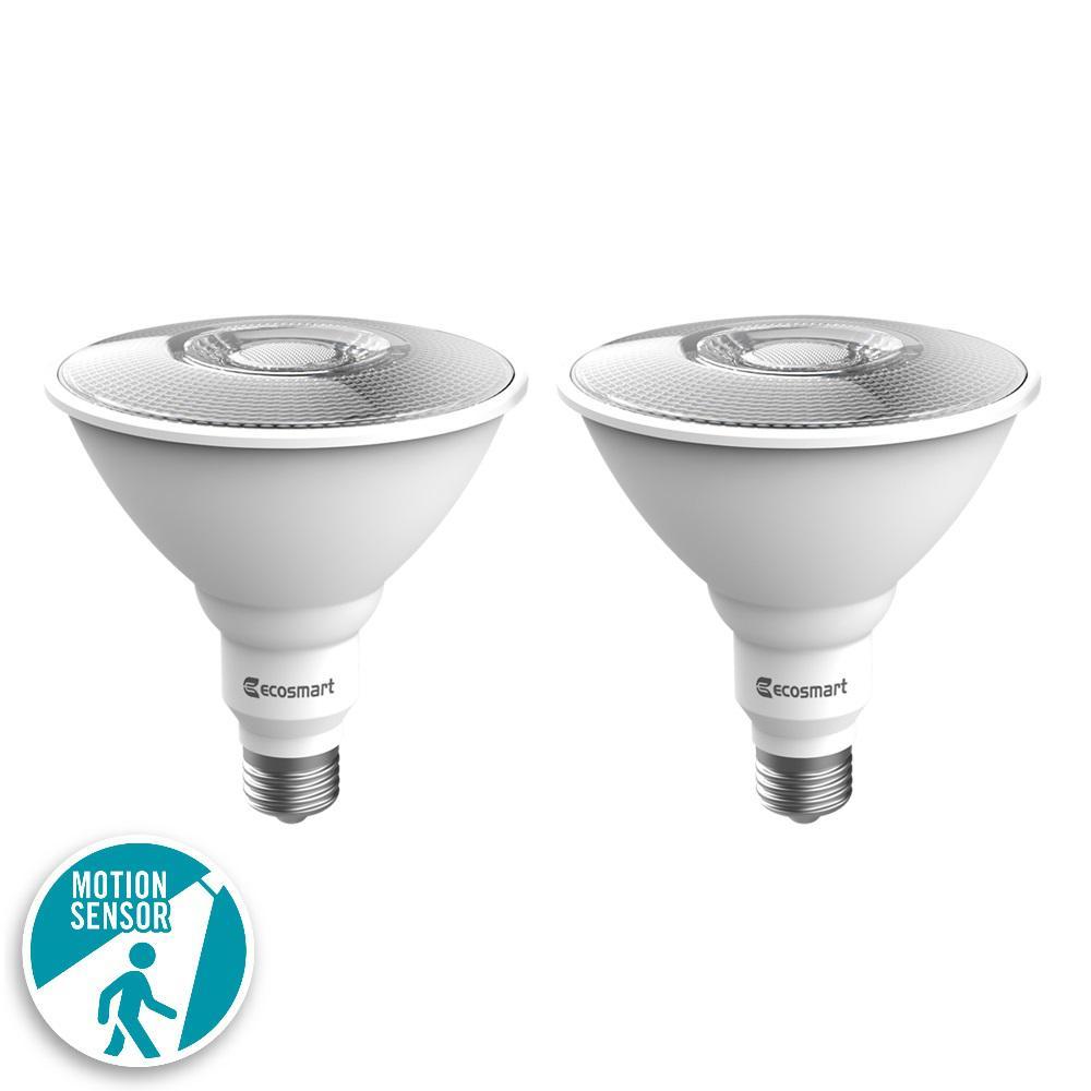 Ecosmart 120 Watt Equivalent Par38 Led Motion Sensor Flood Light Bulb Daylight 2 Pack 1003032303 The Home Depot