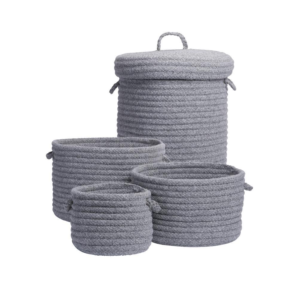 Ethan 4-Piece Grey Wool Basket Set
