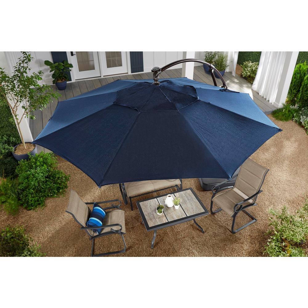 Hampton Bay 11 Ft Aluminum Cantilever Solar Led Offset Patio Umbrella In Midnight