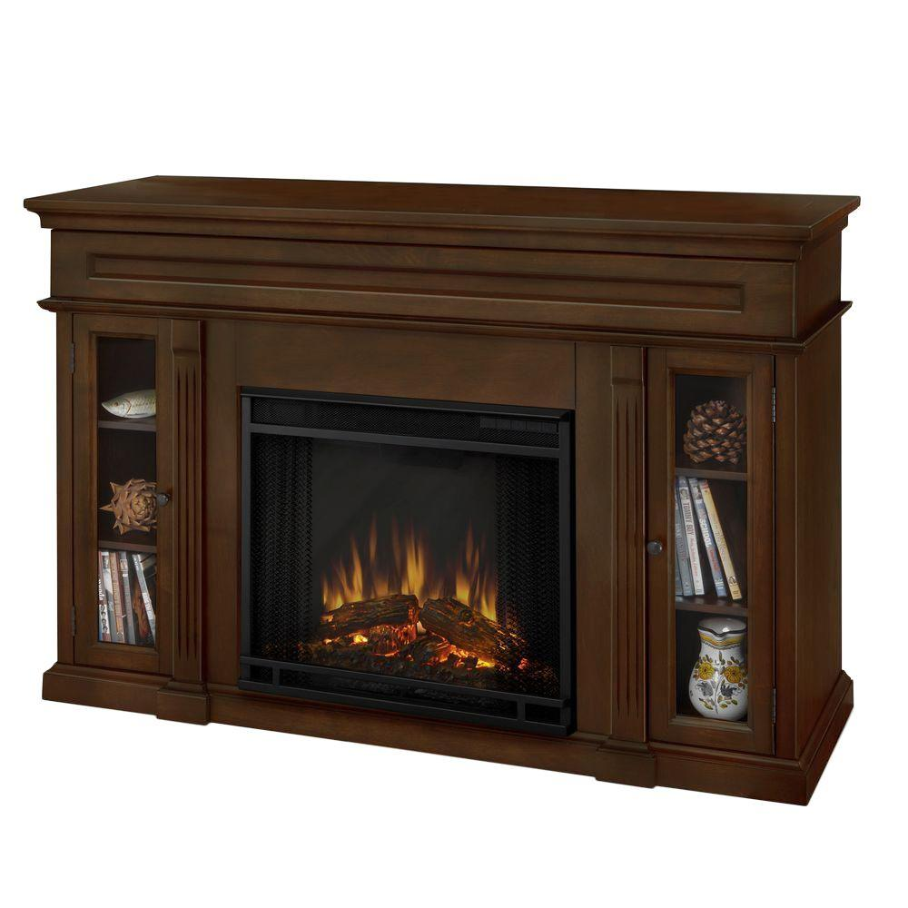 Real Flame Lannon 51 in. Media Console Electric Fireplace in Espresso