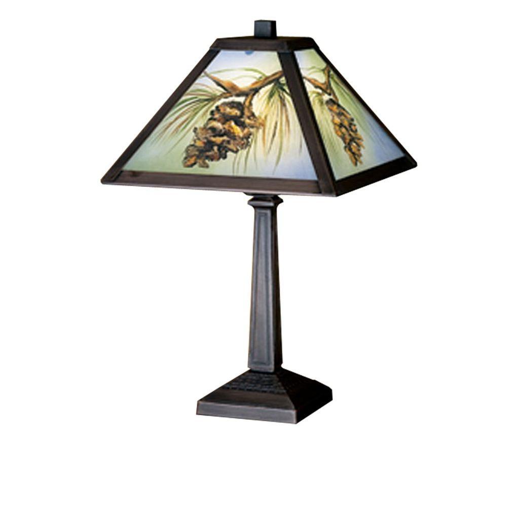 Illumine 1 Light Northwoods Pinecone Hand Painted Accent Lamp