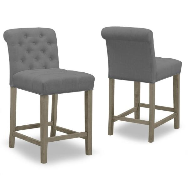 24 in. Aleen Grey Fabric with Roll Back Design and Tufted Buttons Counter Stool (Set of 2)