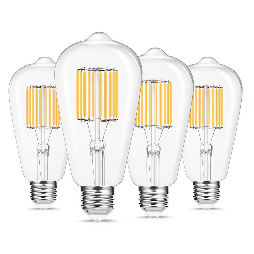 Yansun 100 Watt Equivalent St64 E26 Edison Led Light Bulb In Warm White 4 Pack H Fb02007w10e26 4 The Home Depot