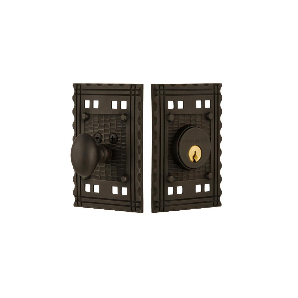 Craftsman Plate 2-3/8 in. Backset Single Cylinder Deadbolt in Oil-Rubbed Bronze