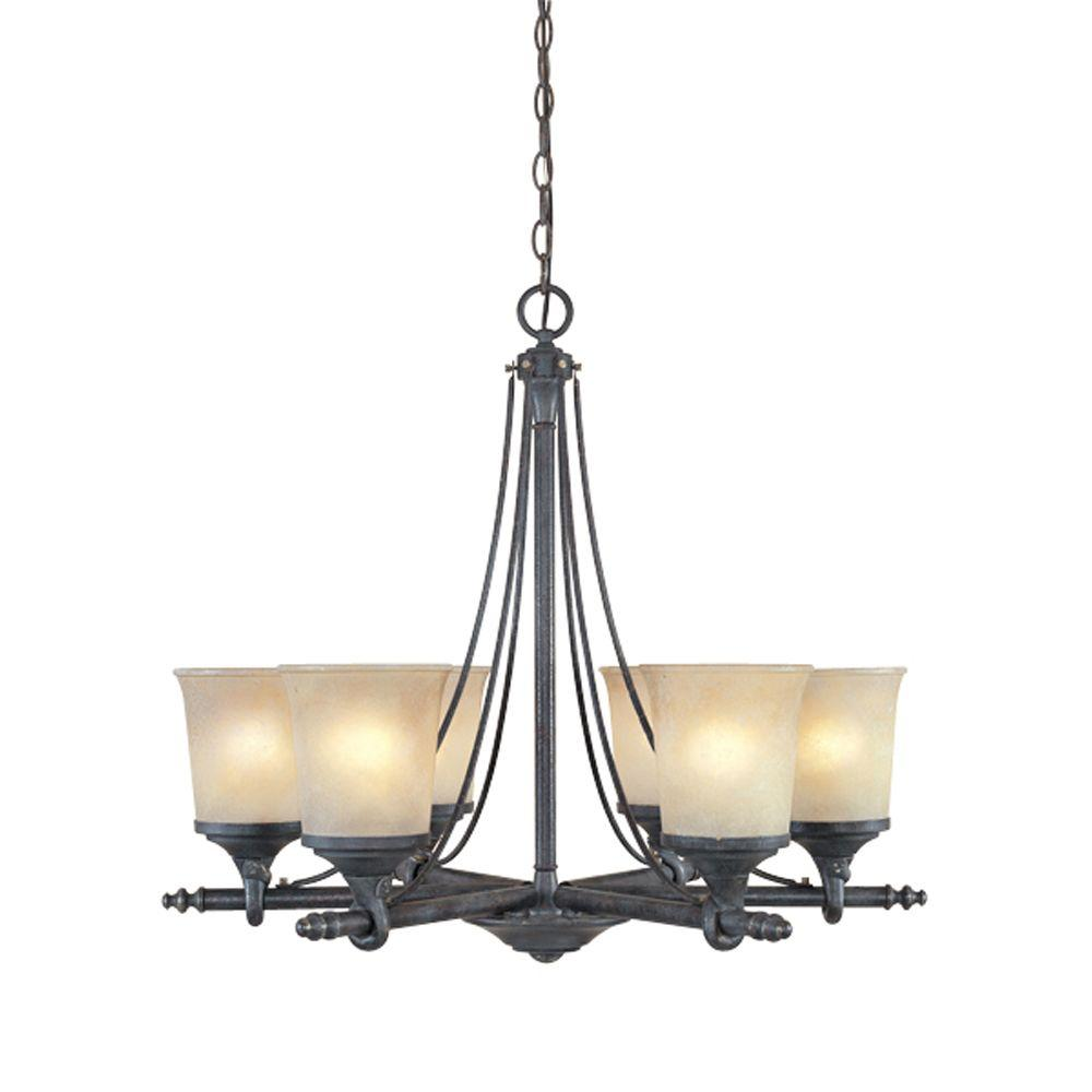 Designers Fountain Austin 6-Light Weathered Saddle Hanging Chandelier