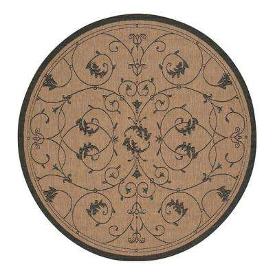 Recife Veranda Cocoa-Black 8 ft. 6 in. x 8 ft. 6 in. Round Indoor/Outdoor Area Rug