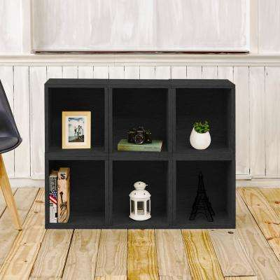 Valencia 6 Cubes zBoard  Stackable Modular Storage Cubby Organizer, Tool-Free Assembly Storage in Black Grain
