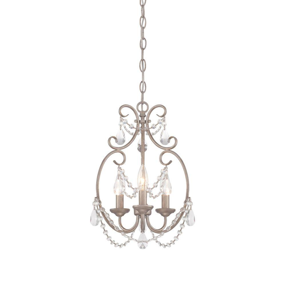 designers fountain dahlia 3-light aged platinum mini chandelier-6205-ap