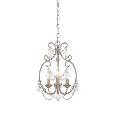 Dahlia 3-Light Aged Platinum Mini Chandelier