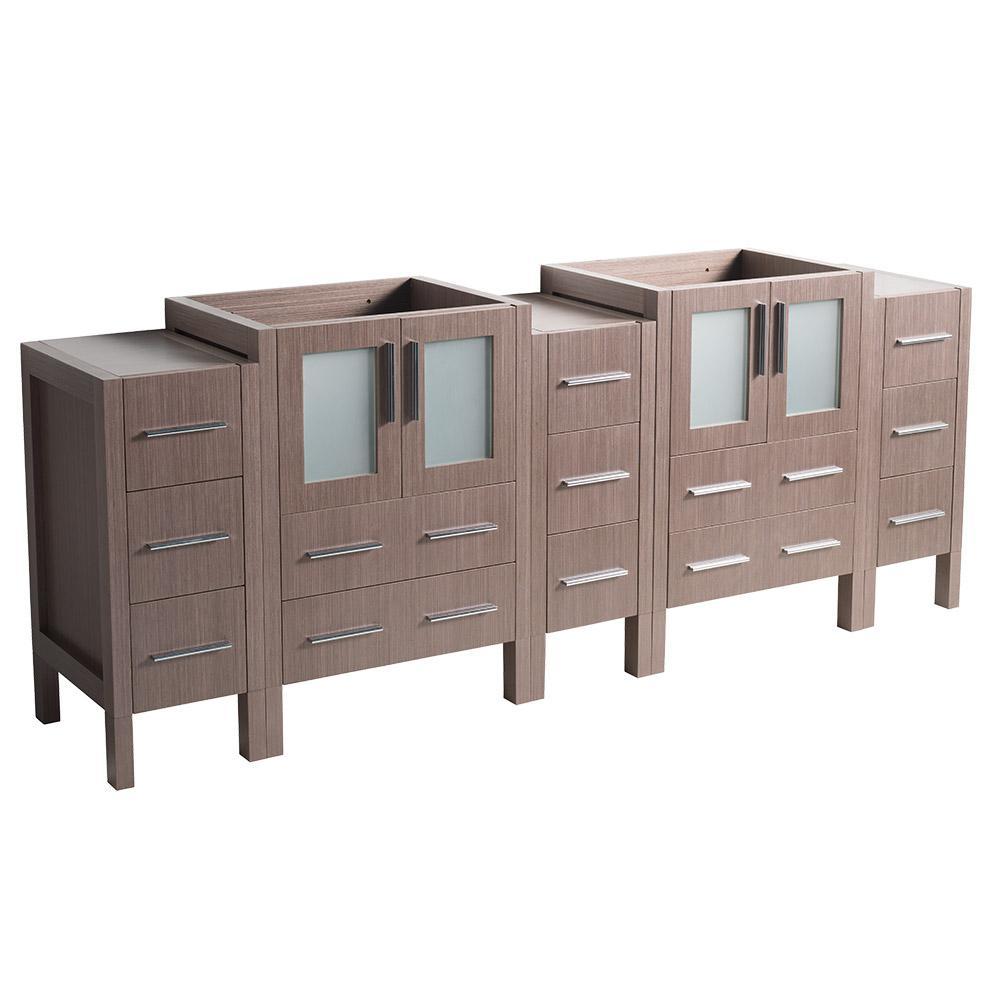 Fresca Torino 72 in. Modern Double Bathroom Vanity Cabinet Only in Gray Oak