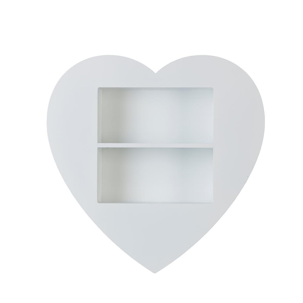 Melannco 18 in. x 18 in. White Heart Decorative Shelf-5135260 - The ...