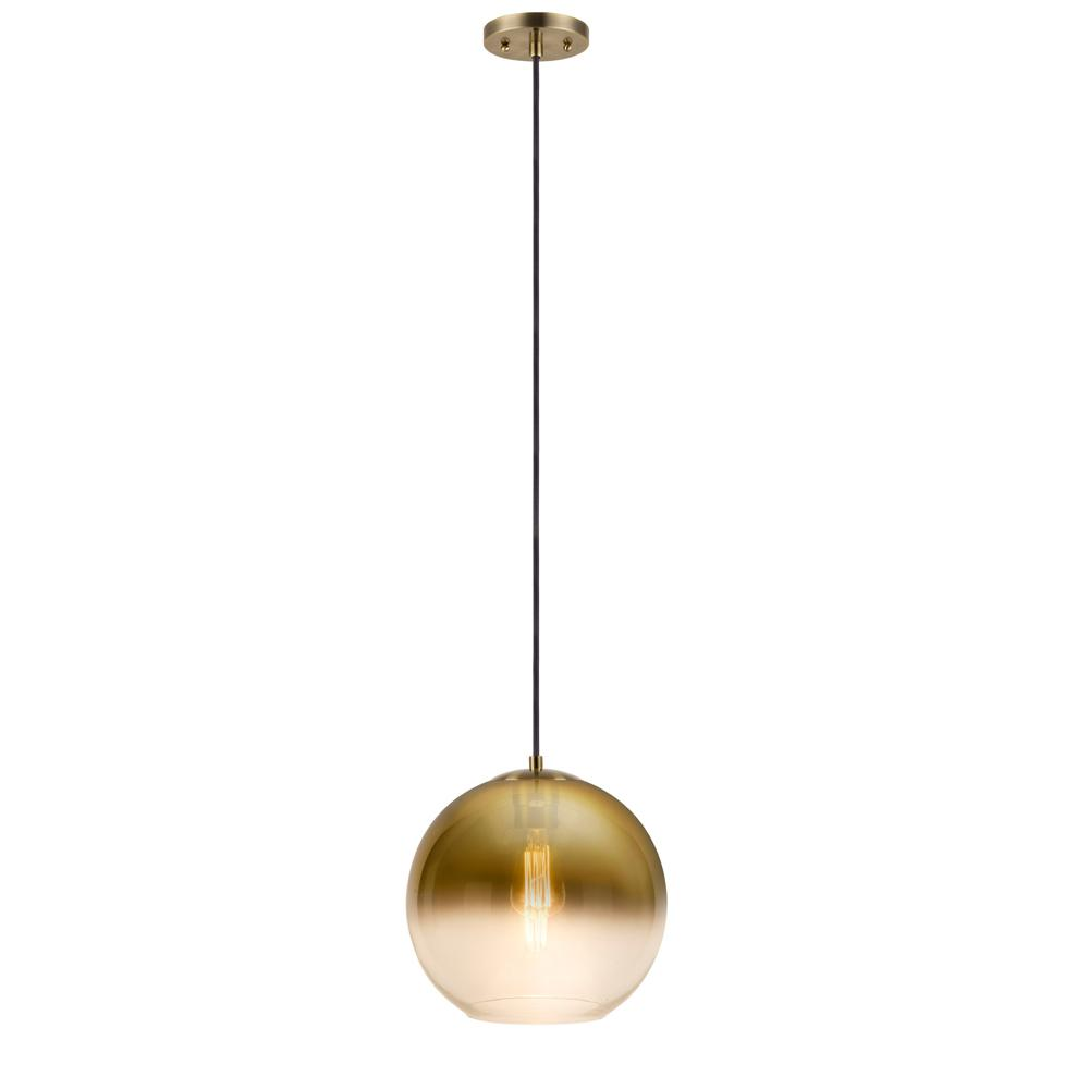 Titan Lighting Randolph 1-Light Brushed Brass And Clear