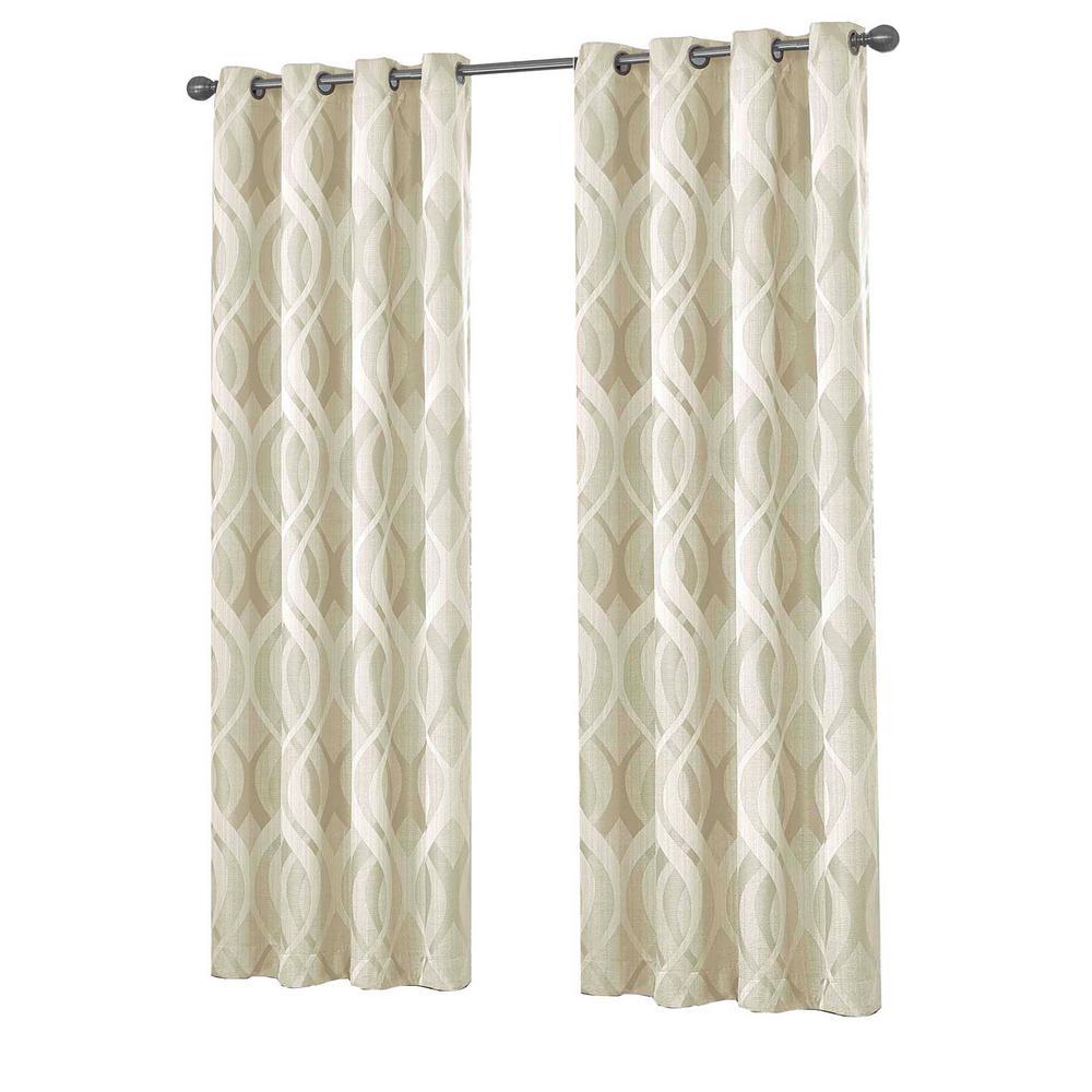 Caprese Blackout Window Curtain Panel in Ivory - 52 in. W x 108 in. L