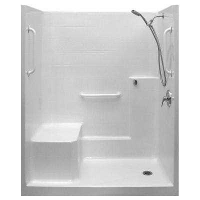 Ultimate-WSA 36 in. x 60 in. x 77 in. 1-Piece Low Threshold Shower Stall in White, Shower Kit, Molded Seat, Right Drain