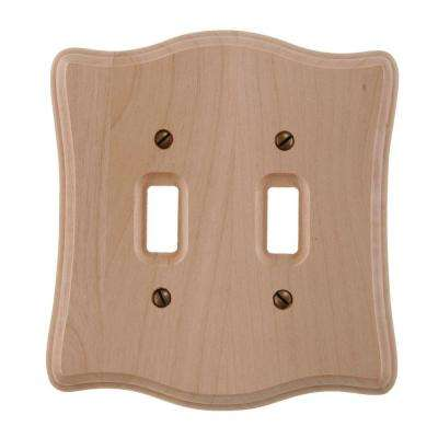 2 Toggle Wall Plate - Un-Finished Wood