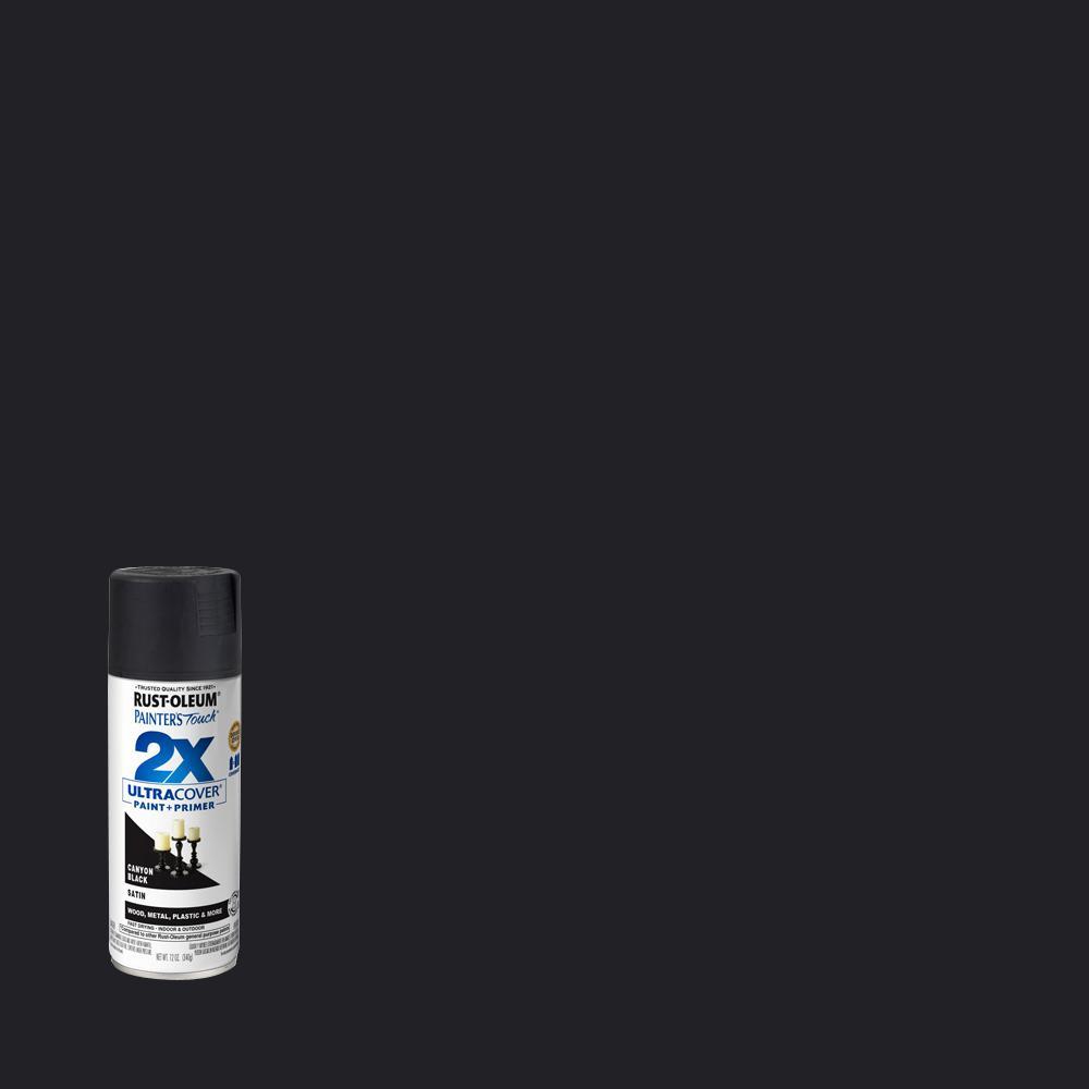 Rust-Oleum Painter's Touch 2X 12 oz. Satin Canyon Black General Purpose Spray Paint