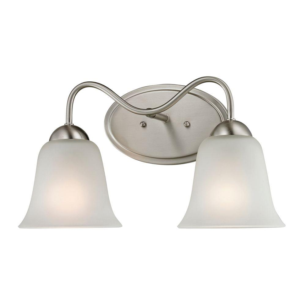 Titan Lighting Conway 2-Light Brushed Nickel Wall Mount Bath Bar Light