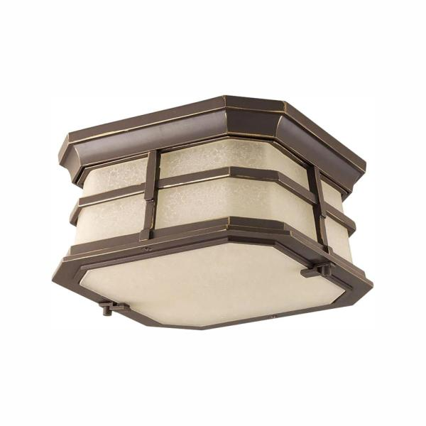 Derby Collection 1-Light Antique Bronze LED Outdoor Flushmount