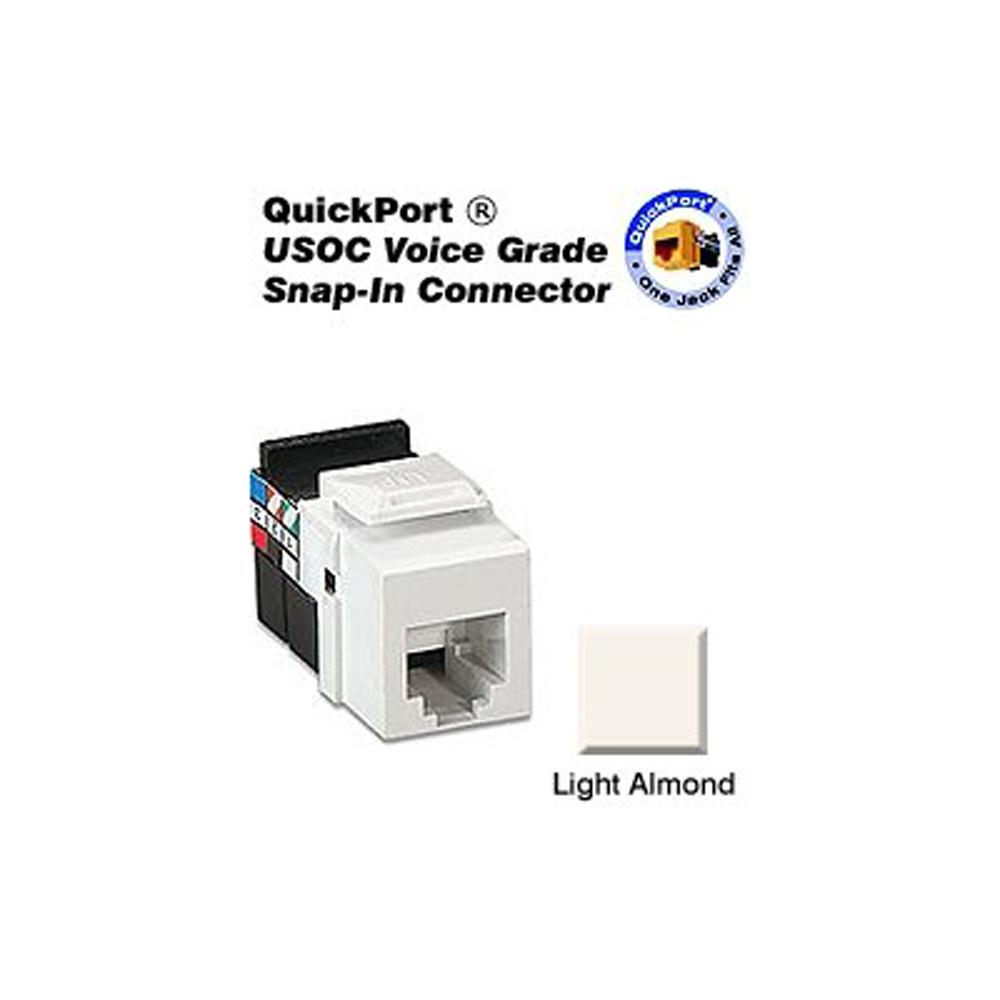 Leviton QuickPort 8P8C Voice Grade Connector, Light Almond