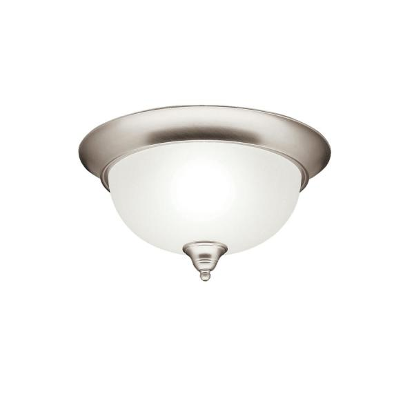 Dover 13.25 in. 2-Light Brushed Nickel Flush Mount Ceiling Light with Etched Seedy Glass