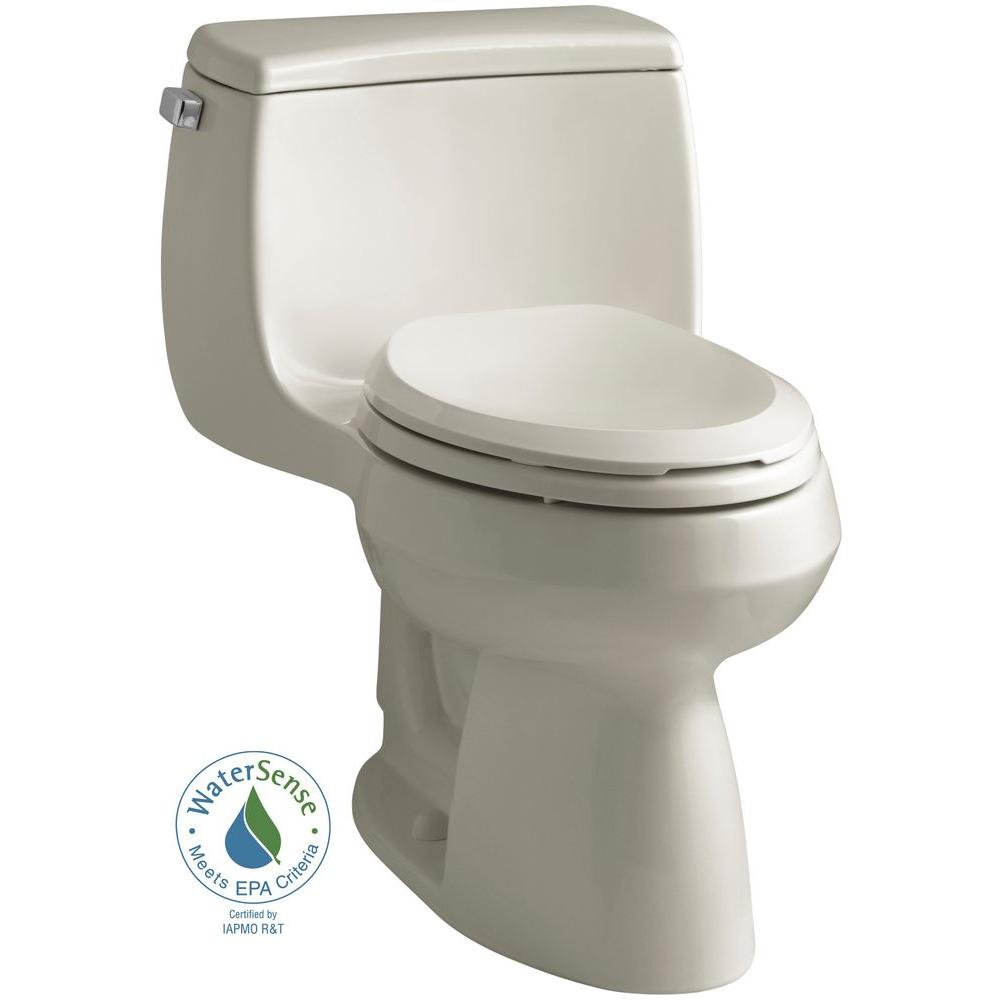 KOHLER Gabrielle Comfort Height 1-Piece 1.28 GPF Single Flush Elongated Toilet with AquaPiston Flushing Technology in Sandbar