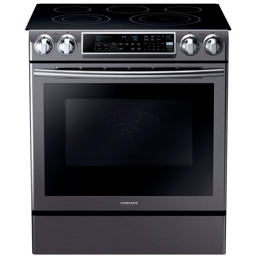 samsung 5 8 cu ft slide in electric range with self cleaning dual convection oven in black. Black Bedroom Furniture Sets. Home Design Ideas