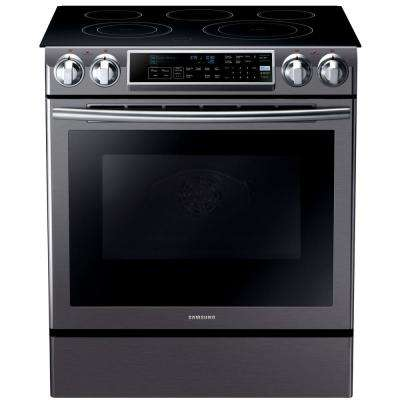 5.8 cu. ft. Slide-In Electric Range with Self-Cleaning Dual Convection in Fingerprint Resistant Black Stainless