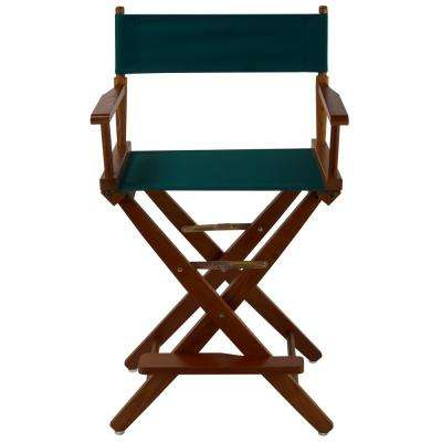 24 in. Extra-Wide Mission Oak Wood Frame/Hunter Green Canvas Seat Folding Directors Chair