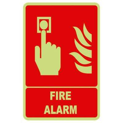 5.5 in. x 8.5 in. Glow-in-the-Dark Plastic Fire Alarm Sign