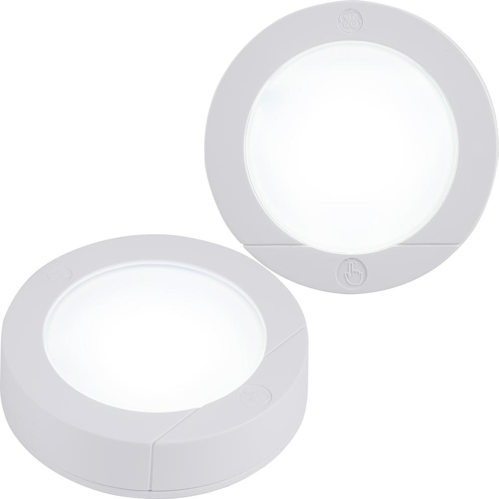 GE Touch Activated White LED Puck Light (2-Pack)-25434 - The Home Depot
