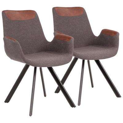 Industrial Vintage Flair Chair in Grey Fabric, Espresso Faux Leather Accent, and Black Metal (Set of 2)