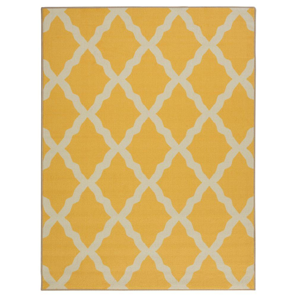 Ottomanson Pink Collection Contemporary Moroccan Trellis Design Yellow 3 ft. x 4 ft. Kids Area Rug