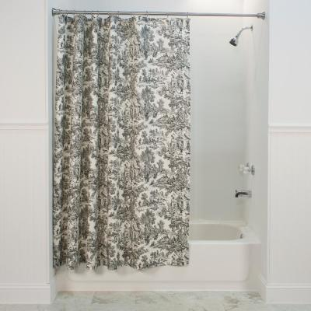 Victoria Park Toile 72 in. L Black Shower Curtain
