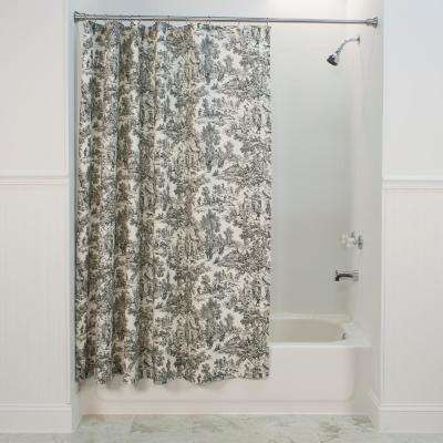 Victoria Park Toile 72 in. L Black Shower Curtain