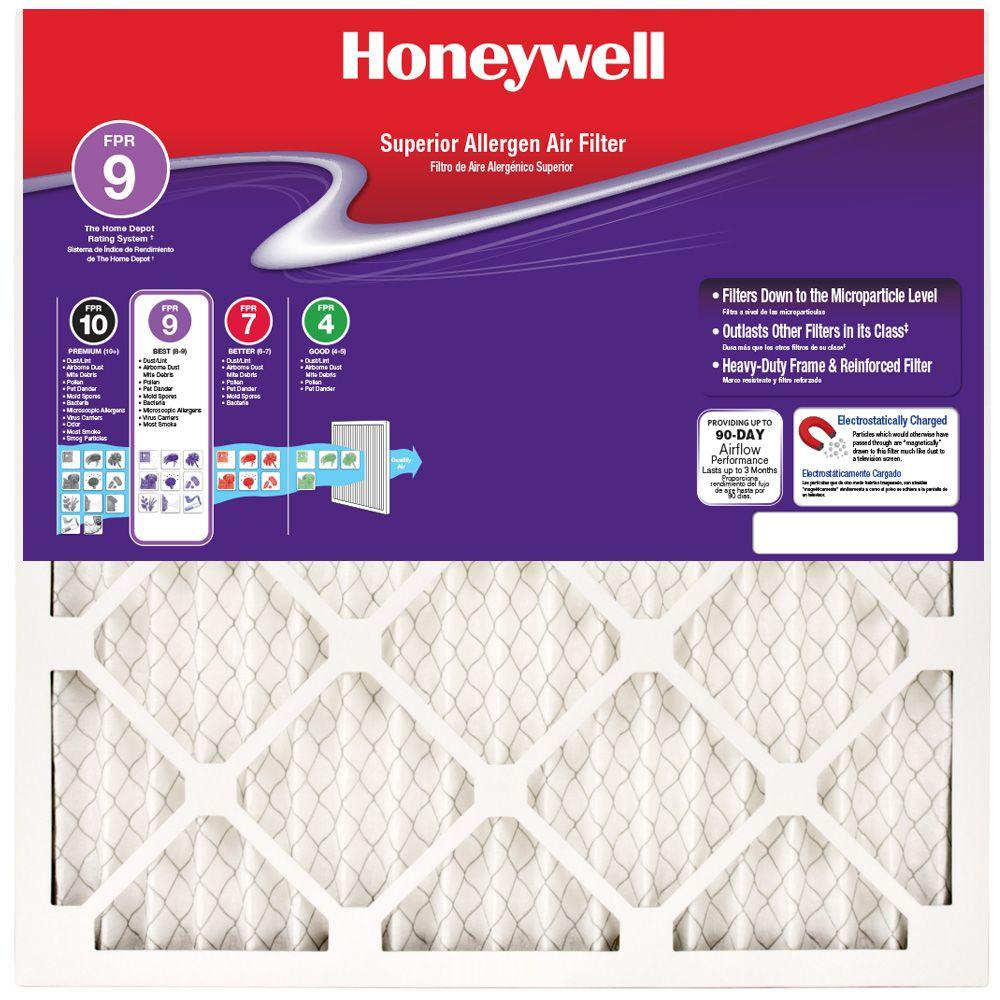 Honeywell 11-1/2 in. x 11-1/2 in. x 1 in. Superior Allergen Pleated ...