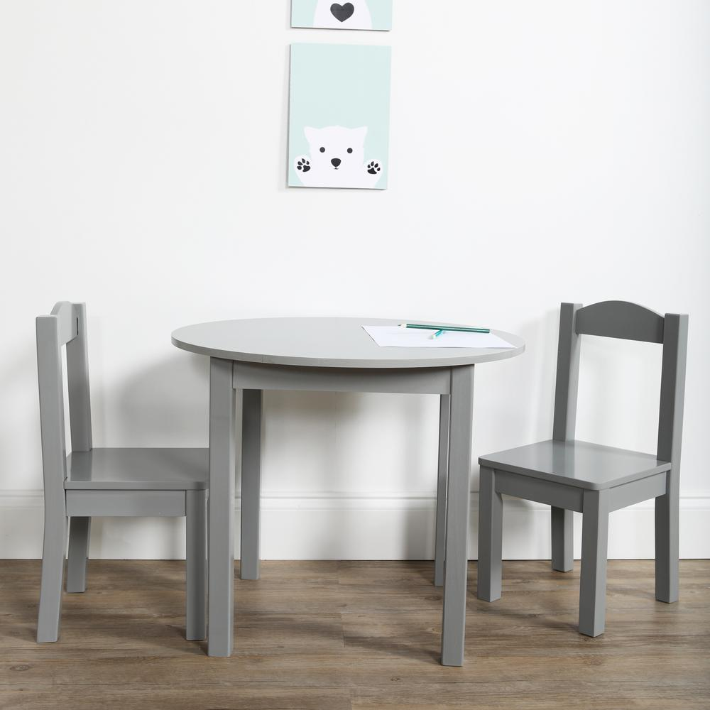 Beau Tot Tutors Inspire 3 Piece Grey Kids Round Table And Chair Set